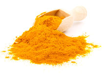 Turmeric over the spoon Royalty Free Stock Photos