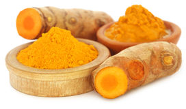 Turmeric over white background Stock Photos