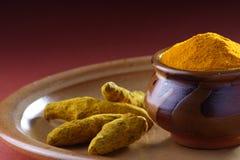 Turmeric powder. A pot full of turmeric Powder with fresh Turmeric Root Stock Images