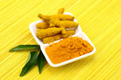 Turmeric powder with bark of turmeric Royalty Free Stock Image