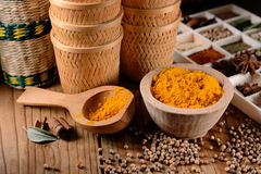 Turmeric powder in the bowl Royalty Free Stock Photography