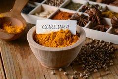 Turmeric powder in the bowl Stock Photo