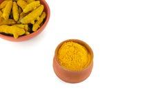 Turmeric Powder. In an earthen pot Stock Images