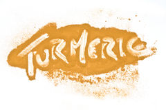Turmeric powder heath Words stock photos