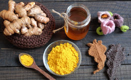 Turmeric powder, honey, healthy food, cosmetic Royalty Free Stock Images