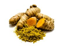 Turmeric and turmeric powder isolated on white background royalty free stock image