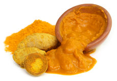 Turmeric with powder and paste Royalty Free Stock Image