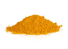 Turmeric powder spice pile isolated on white background Royalty Free Stock Photos