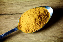 Turmeric powder on a spoon Royalty Free Stock Photo