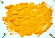 Turmeric powder. Top view with white isolated background Royalty Free Stock Photos