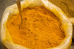 Turmeric powder. In a traditional shopping center Stock Images