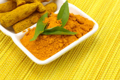 Turmeric powder with turmeric Stock Image
