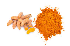 turmeric powder with turmeric root isolated on white background Stock Image