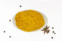 The turmeric powder on white background for decorate project. Stock Photography