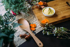 Turmeric powder and wooden spoon Stock Photography