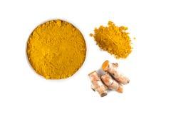 Turmeric rhizome and turmeric powder Stock Photos