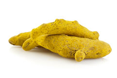 Turmeric root. On white background Stock Photos