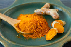 Turmeric root and powder Stock Images