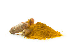 Free Turmeric Roots And Turmeric Powder Royalty Free Stock Photography - 89779197