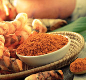 Turmeric roots in the basket Royalty Free Stock Photography