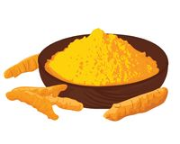 Turmeric roots and powder in a bowl on a white background. Turmeric roots and powderin in a bowl on a white background vector illustration Royalty Free Stock Photo