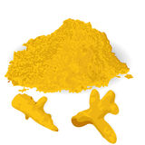 Turmeric roots and powder. On a white background Stock Images