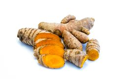 Turmeric roots sliced ​​isolated on white background stock photos