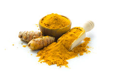 Turmeric roots and turmeric powder Stock Image