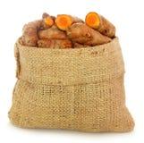 Turmeric in sack bag Stock Image