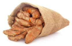 Turmeric in sack bag Stock Photos