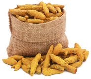 Turmeric in a sack Royalty Free Stock Photo