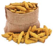 Turmeric in a sack Royalty Free Stock Images