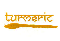 Turmeric spice. Isolated turmeric curry spice written in letters Royalty Free Stock Photos