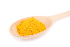 Turmeric in spoon close-up Stock Photography
