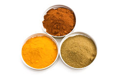 Turmeric, Sweet Paprika And Cumin Stock Images