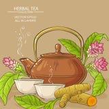 Turmeric tea illustration. Turmeric tea in teapot on color background Stock Photos