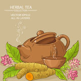 Turmeric tea illustration. Turmeric tea in teapot on color background Stock Photography