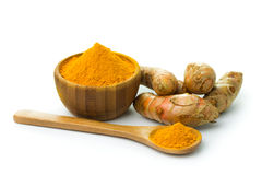 Turmeric and turmeric powder. On white background