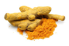 Turmeric and turmeric powder Royalty Free Stock Photography