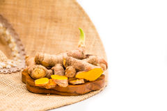 Turmeric  on white background. Royalty Free Stock Photos