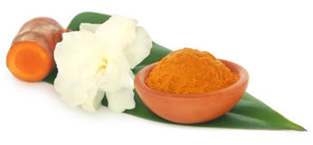 Turmeric with white flower Stock Photo