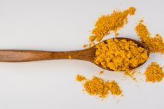 Turmeric in a wooden spoon top view Royalty Free Stock Photo