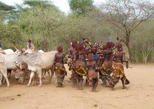 Het springen van de stierenceremonie Ethiopië Stock Afbeeldingen