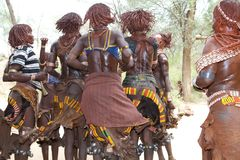 Jumping of the bull ceremony Ethiopia Stock Images