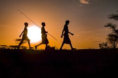 Free Turmi, Omo Valley, Ethiopia, Hamer Tribe September 2018 Unidentified People From The Tribe At Sunset. Royalty Free Stock Photography - 186982537