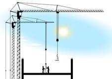 Turmkran und Arbeiten Lizenzfreies Stockfoto