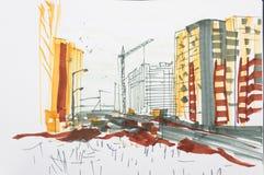 Turmkran und Gebäude lizenzfreies stockfoto