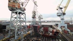 Turmkrane an der Baustelle-Zeitspanne stock footage
