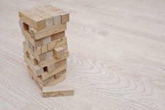 Turmspiel des hölzernen Blockes für Kinder Stockfotografie