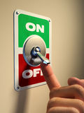 Turn on. Finger pressing on an old style metal switch. Digital illustration Royalty Free Stock Images
